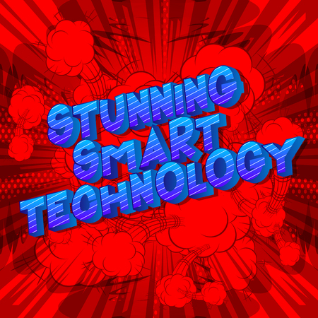 Stunning Smart Technology - Vector illustrated comic book style phrase on abstract background.