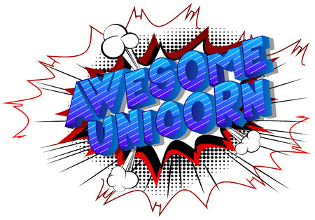 Awesome Unicorn - Vector illustrated comic book style phrase on abstract background. 向量圖像
