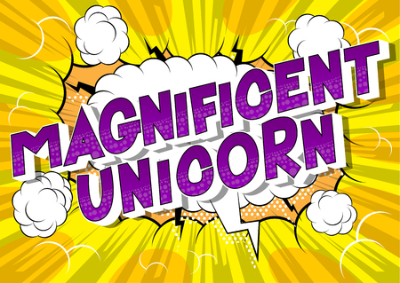 Magnificent Unicorn - Vector illustrated comic book style phrase on abstract background. Stock Illustratie