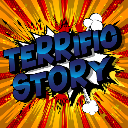 Terrific Story - Vector illustrated comic book style phrase. Çizim