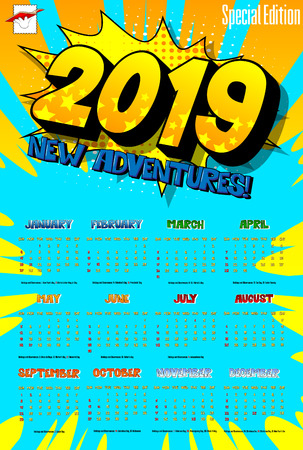 2019 retro style comic book calendar template with all twelve month. Pop art style background. Colored vector poster illustration. Imagens - 112771786