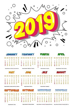 2019 retro style comic book calendar template with all twelve month. Pop art style background. Colored vector poster illustration. Ilustração