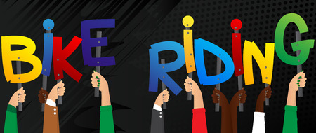 Diverse hands holding letters of the alphabet created the word Bike Riding. Vector illustration.