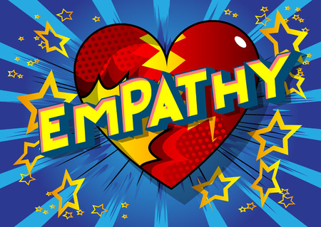 Empathy - Vector illustrated comic book style phrase on abstract background. 向量圖像