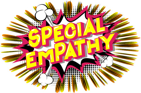Empathie spéciale - Expression de style bande dessinée illustrée de vecteur sur fond abstrait.