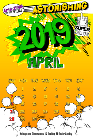 2019 retro style comic book calendar template For April. Pop art style background. Colored vector poster illustration.
