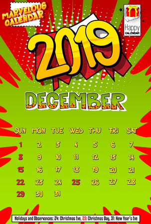2019 retro style comic book calendar template For December. Pop art style background. Colored vector poster illustration.
