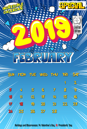 2019 retro style comic book calendar template For February. Pop art style background. Colored vector poster illustration. Illustration