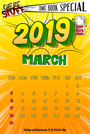 2019 retro style comic book calendar template For March. Pop art style background. Colored vector poster illustration.