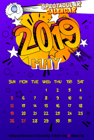 2019 retro style comic book calendar template For May. Pop art style background. Colored vector poster illustration.
