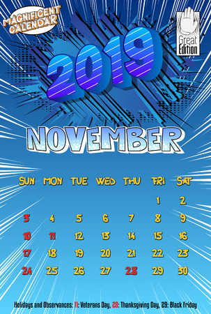 2019 retro style comic book calendar template For November. Pop art style background. Colored vector poster illustration.
