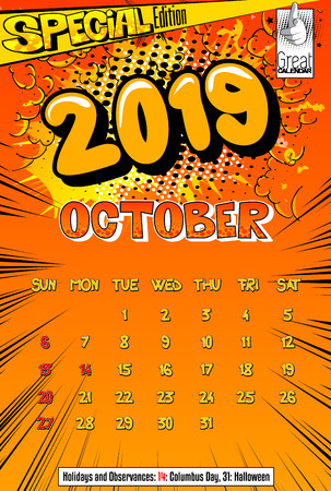 2019 retro style comic book calendar template For October. Pop art style background. Colored vector poster illustration.