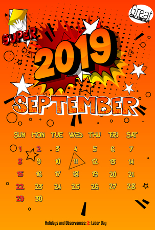 2019 retro style comic book calendar template For September. Pop art style background. Colored vector poster illustration. Illustration