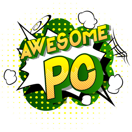 Awesome PC (Acronym which stands for Personal Computer) - Vector illustrated comic book style phrase on abstract background.