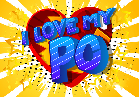 I Love My PC (Acronym which stands for Personal Computer) - Vector illustrated comic book style phrase on abstract background.