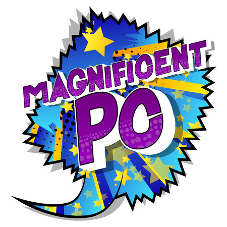 Magnificent PC (Acronym which stands for Personal Computer) - Vector illustrated comic book style phrase on abstract background. Illusztráció