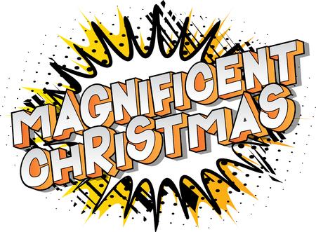 Magnifique Noël - Expression de style bande dessinée illustrée de vecteur sur fond abstrait.
