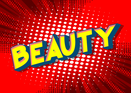 Beauty - Vector illustrated comic book style phrase on abstract background. Archivio Fotografico - 113582392