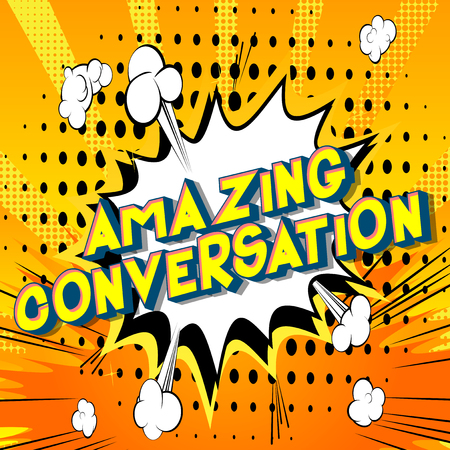 Amazing Conversation - Vector illustrated comic book style phrase on abstract background. Çizim