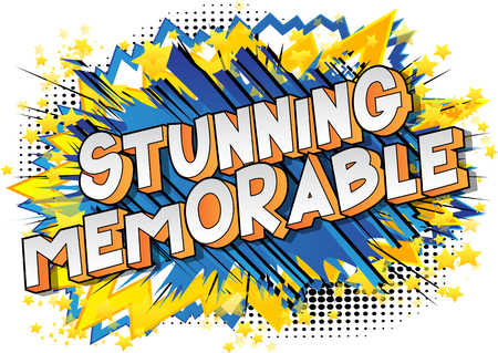 Stunning Memorable - Vector illustrated comic book style phrase on abstract background. Çizim