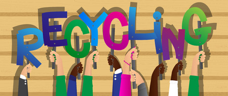 Diverse hands holding letters of the alphabet created the word Recycling. Vector illustration.
