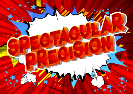 Spectacular Precision - Vector illustrated comic book style phrase on abstract background. Çizim