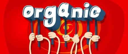 Diverse hands holding letters of the alphabet created the word Organic. Vector illustration. Çizim
