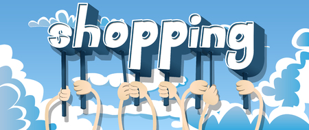 Diverse hands holding letters of the alphabet created the word Shopping. Vector illustration.