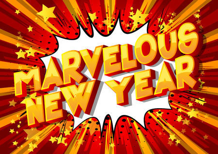 Marvelous New Year - Vector illustrated comic book style phrase on abstract background. Vectores