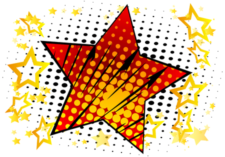 Vector illustrated retro background with big star filled with comic book effect, pop art vintage style backdrop.