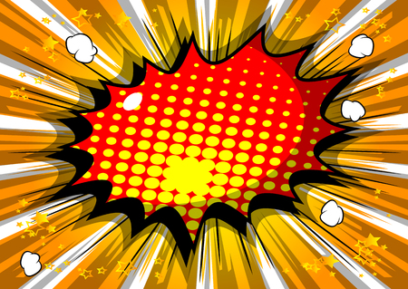 Vector illustrated retro comic book background with big colorful explosion bubble, pop art vintage style backdrop.