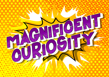 Magnificent Curiosity - Vector illustrated comic book style phrase on abstract background.