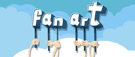 Diverse hands holding letters of the alphabet created the words Fan Art. Vector illustration. Ilustrace
