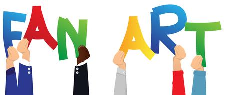 Diversas manos sosteniendo letras del alfabeto crearon las palabras Fan Art. Ilustración de vector.