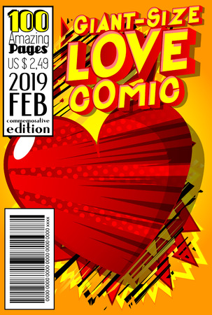Editable Giant-Size Love Comic Book cover with hearts and other effects. Ilustração