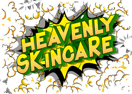 Heavenly Skincare - Vector illustrated comic book style phrase on abstract background. Ilustração