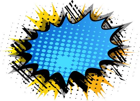 Vektor illustrierte Retro-Comic-Hintergrund mit großer bunter Explosionsblase, Pop-Art-Vintage-Stil-Hintergrund. Vektorgrafik