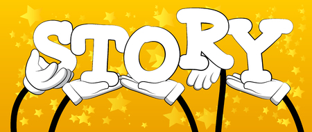 Diverse hands holding letters of the alphabet created the word Story. Vector illustration. Illustration