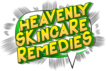 Heavenly Skincare Remedies - Vector illustrated comic book style phrase on abstract background.