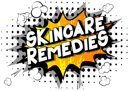 Skincare Remedies - Vector illustrated comic book style phrase on abstract background.