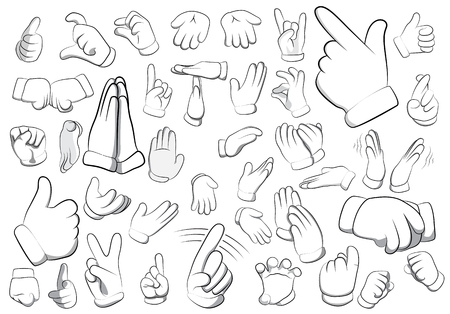 Vector set of cartoon hands with many gestures. Big collection isolated on white background. Illustration