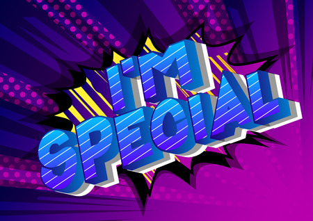 Im Special - Vector illustrated comic book style phrase on abstract background.