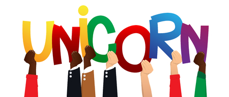 Diverse hands holding letters of the alphabet created the word Unicorn. Vector illustration.