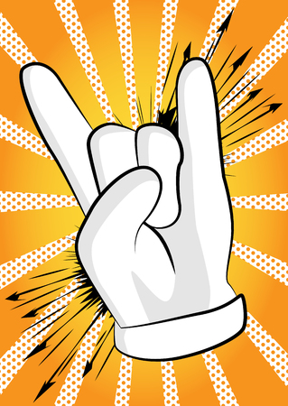 Vector cartoon hand in rocker pose. Illustrated hand expression, gesture on comic book background.