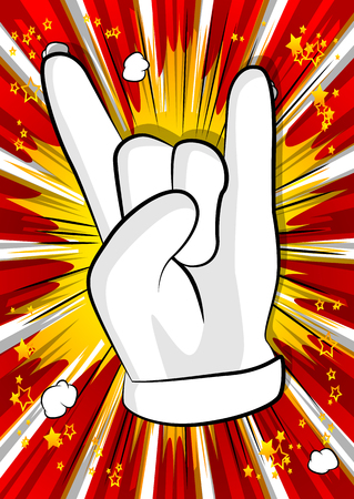 Vector cartoon hand in rocker pose. Illustrated hand expression, gesture on comic book background. Foto de archivo - 115659281