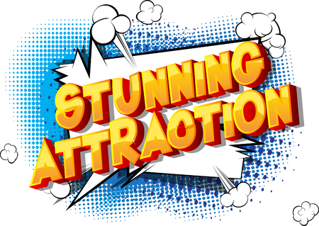 Stunning Attraction - Vector illustrated comic book style phrase on abstract background.
