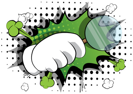 Vector cartoon hand holding a magnifying glass. Illustrated hand expression, gesture on comic book background.