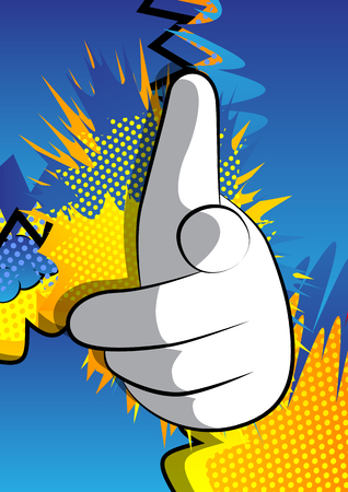 Vector cartoon hand pointing at the viewer. Illustrated hand expression, gesture on comic book background.