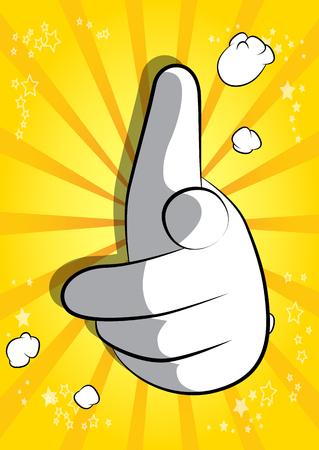 Mano de dibujos animados vector apuntando al espectador. Expresión ilustrada de la mano, gesto sobre fondo de cómic.