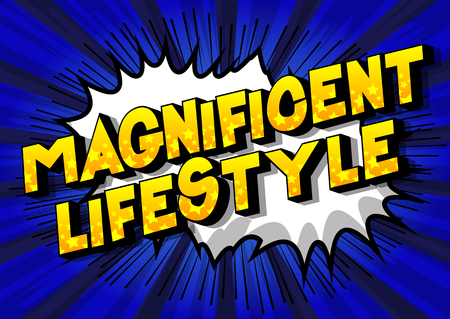 Magnificent Lifestyle - Vector illustrated comic book style phrase on abstract background.  イラスト・ベクター素材
